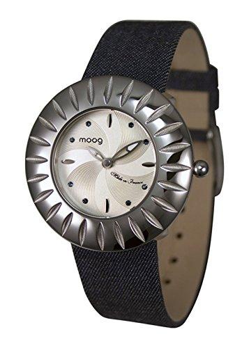 Moog Paris Petale Reloj para Mujer con Esfera Plateada, Correa - de Jeans y Cristales Swarovski - M45582-007