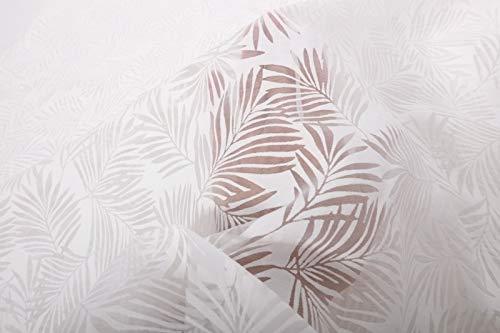 Qualitativ hochwertiger Chiffon Ausbrenner, Blätter auf Ecru als Meterware zum Nähen von Bekleidung, 50 cm