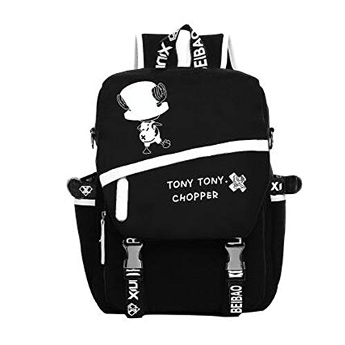 JJZZ Anime Backpack Schüler Schultasche Laptop Rucksäcke Freizeittasche Daypack. One Piece Chopper, schwarz, 42 * 30 * 12 cm