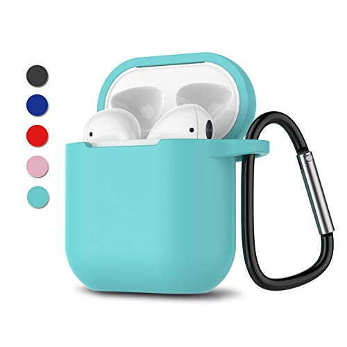 Njjex AirPods Case, AirPod Silicone Skin Cover with Keychain, Portable Protective Shockproof Headphone Earphone Accessories Case Compatible for Apple AirPods 1 & AirPods 2 Charging Case [Mint]