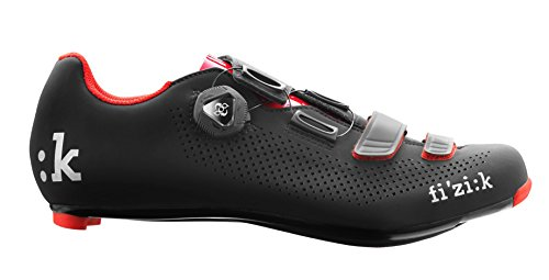 Fizik R4 UOMO BOA Road Cycling Shoes, Black/Red, Size 46 Black/Red