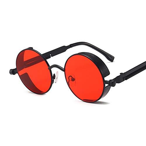 Moda Gafas De Sol Steampunk Góticas Clásicas para Mujer, Diseñador De Marca, Gafas De Sol con Montura Metálica Redonda Vintage para Mujer, Hombre, Uv400, Negro, Rojo