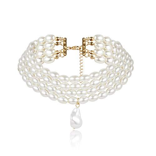 guodong Gargantilla De Perlas Multicapa Barroca De Imitación para Mujer, Collar De Perlas De 4 Hilos con Colgante, Moda para Mujer