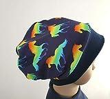 Mütze Beanie Fleece - Einhorn Pferde neon - Kinder Mädchen blau