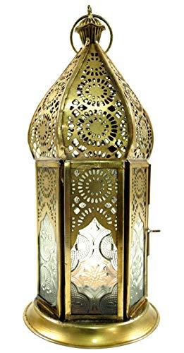Guru-Shop Orientalische Metall/Glas Laterne in Marrokanischem Design, Windlicht, Farblos, Farbe: Farblos, 21x9,5x9,5 cm, Orientalische Laternen