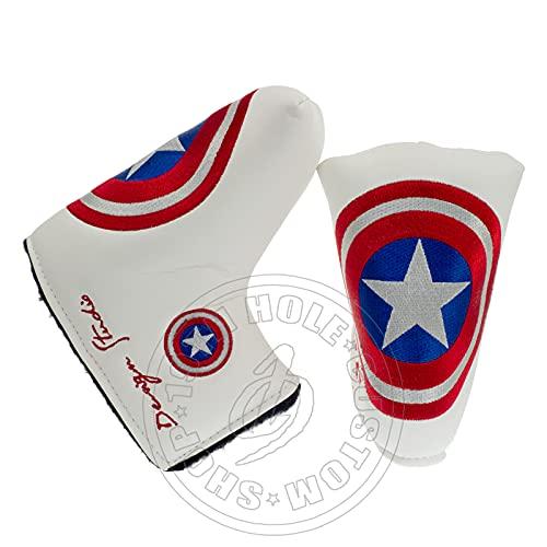 Lion Custom Shop Captain America Golf Headcover for Midsize Mallet & Blade Putter, White