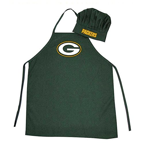 NFL Green Bay Packers Chef Hat and Apron Set, Green, One Size