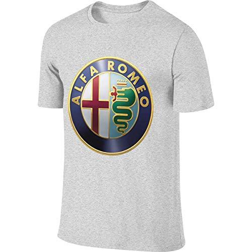 KAMEOR Men's Custom Casual Tees Alfa Romeo Logo T-Shirts Gray