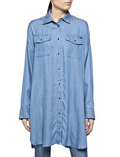 Replay Damen W2263B.000.54C 05 Bluse, Blau (Light Blue 10), Large (Herstellergröße: L)