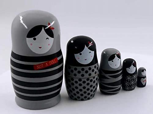 YXQSED Russische Matroschka,5 Stücken Nesting Dolls Holz Stapeln verschachtelt Set handgemachte Weihnachten Home Raumdekoration Halloween Wishing Gift-Mädchen