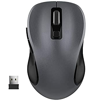 WisFox 2.4G Wireless Mouse for Laptop Ergonomic Computer Mouse with USB Receiver and 3 Adjustable Levels 6 Button Cordless Mouse Wireless Mice for Windows Mac PC Notebook  Grey