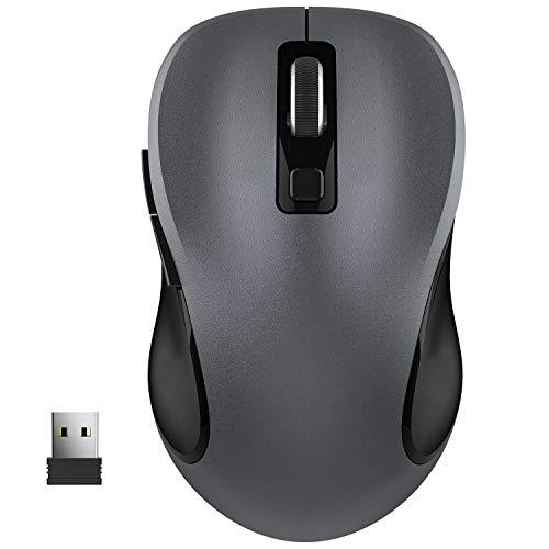 WisFox Kabellose Maus, 2.4G USB Kabellose Ergonomische Maus Computermaus Laptop Maus USB Maus 6 Tasten mit Nano-Empfänger 3 Einstellbare DPI-Werte Schnurlose Drahtlose Mäuse für Windows, Mac