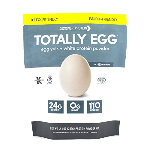 Designer Protein Totally Egg, Classic Vanilla, 12.4 Oz, Paleo and Keto friendly Egg White & Yolk Protein Powder, Made in the USA