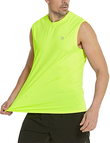 BALEAF Men's Fitness Sleeveless Tech Muscle Shirts Workout Gym Running Tank Top Neon Yellow Size M