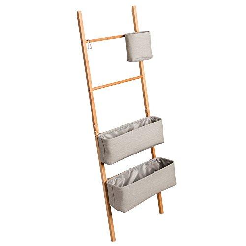InterDesign Formbu Scaletta Bagno Autoportante Con Contenitori, Bambú, Beige, 42.4X16.5X132.1 Cm