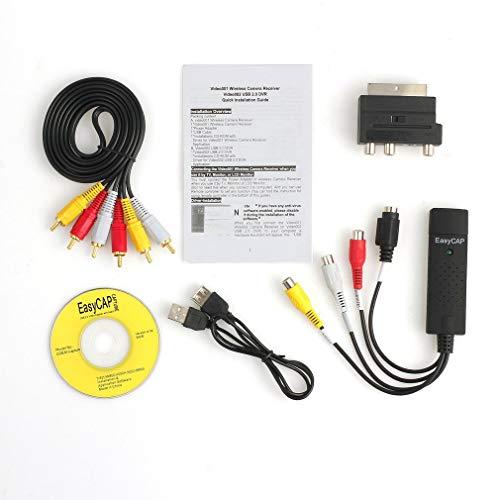 Persdico Professional USB2.0 VHS a DVD Converter Kit de captura de audio y video Scart RCA Cable Kit Set adecuado para Win 10