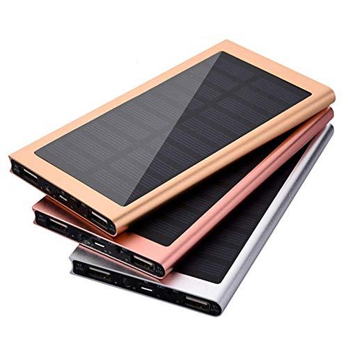 Kisshg Solar Power Banque 10000mAh Grande capacité Ultra Mince de 9 mm avec LED Externe Chargeur Solaire Voyage Powerbank pour Smart Phone,d'or,10000 mAh