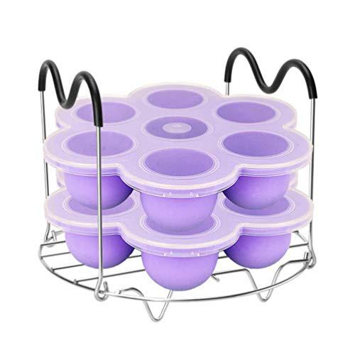 DOITOOL 3 x Silikon-Gefrierboxen mit 7 Mulden, für Babynahrung, mit Dampfgarer-Gestell, Schnellkochtopf, Topfuntersetzer, Ständer für Babynahrung, Gemüse, Obstpürees, zufällige Farbe