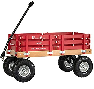 """Berlin Flyer Sport Wagon - Model F410 - Amish Made in Ohio, USA - 10"""" No-Flat Tires (Red) by Holmes Custom Moulding"""