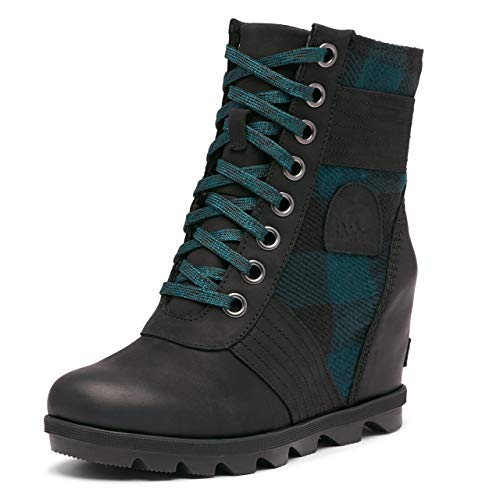 Sorel Lexie Wedge Boot - Women's Black Green Plaid, 10.5