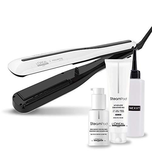 L'Oréal Steampod Set, Haar-Pflege Set mit Haar-Glätteisen, Glättungs-Milch und Serum, inkl. Applikator-Flasche, 4er Set
