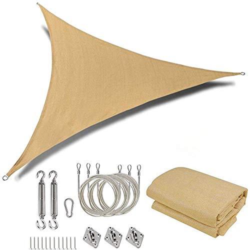 YUEN Toldo Vela De Sombra Triangular Hdpe Transpirable Protección UV Protección Solar Toldo Vela Triangular para Patio, Exteriores, Jardín (Incluye Kit De Fijación)