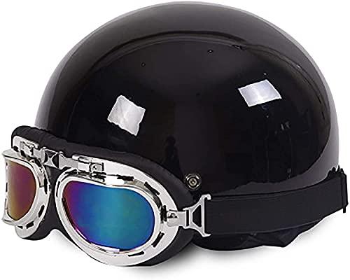 Egrus Casco de Motocicleta Retro Unisex para Adultos con Media Cara y Casco de Rodillo Certificado por ECE/Certificado por Puntos para Pilotos, Adecuado para Cuatro Temporadas tamaño = 54-59cm