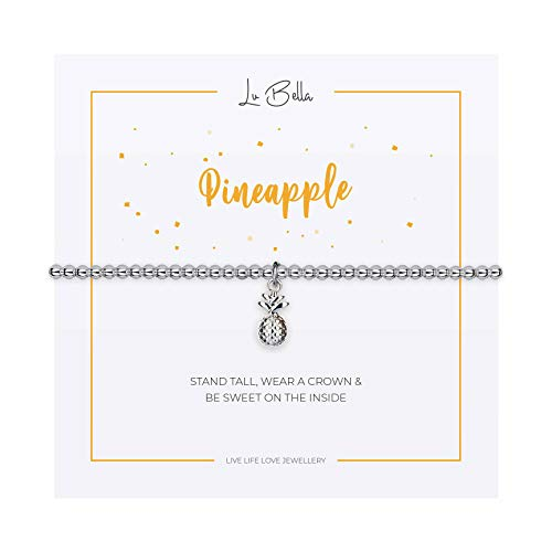 Pineapple Bracelet For Woman. Adjustable Silver Jewellery with Pineapple Charm and Gift Bag from Lu Bella