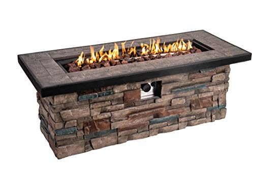 Lowest Prices! Dmode Propane Natural Gas Fire Table for Outdoor Burning Fire Pit,48inch 50,000 BTU R...