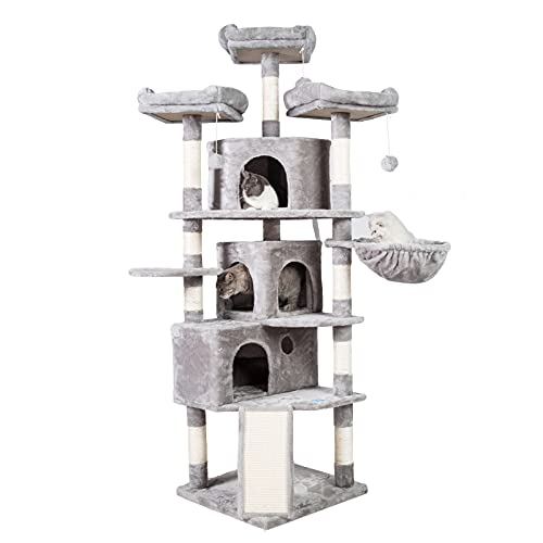 Hey-brother XL Size Cat Tree, Cat Tower with 3 Caves, 3 Cozy Perches, Scratching Posts, Board, Activity Center Stable for Kitten/Big Cat Light Gray MPJ0032W