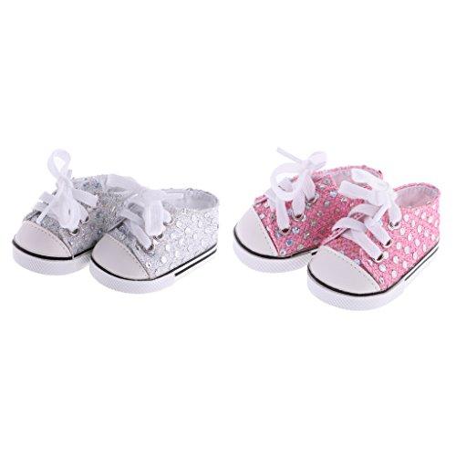 Perfeclan 2 Paare Puppe Schuhe Paillette Turnschuhe Sportschuhe für 18 Zoll amerikanische Mädchen Puppe