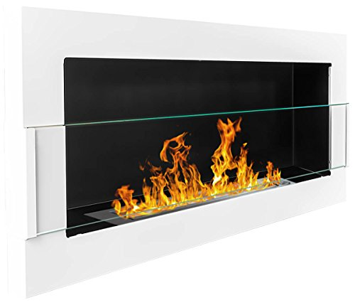 Caminetto a bioetanolo, 900 x 400 mm, bioccamino da parete bianco + vetro con supporto (certificato TÜV Rheinland