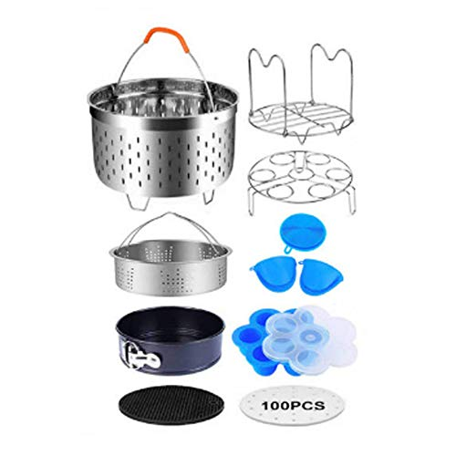 10 Pieces Pressure Cooker Accessories Set Compatible with Instant Pot 6,8 Qt Steamer Basket,Non-stick Springform Pan,Egg Bites Mold, Egg Rack, Steamer Trivet, Kitchen Tongs (10-piece full hole basket)