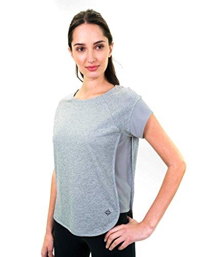Satva Premium Organic Cotton T-Shirt Scoop Neck Short Sleeve With Mesh Pav Tee, Medium, Heather Gray