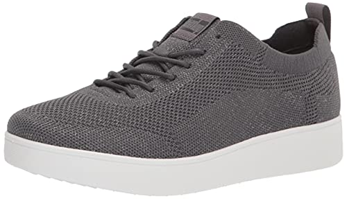 FitFlop Women's Rally Tennis Sneaker-Tonal Knit, Pewter Grey/Metallic Pewter, 9