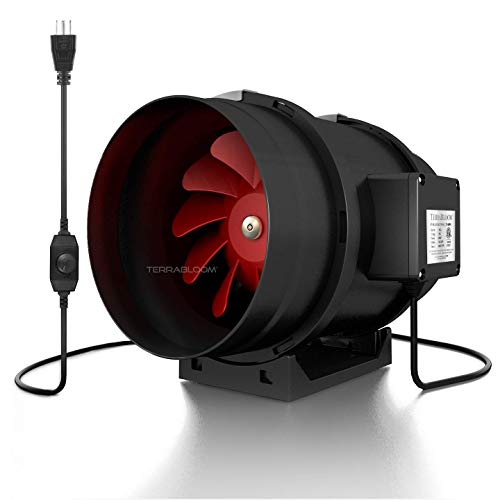 "TerraBloom 8"" Quiet Inline Duct Fan, 735 CFM with Built-in Variable Speed Controller, ETL Listed, Pre-Wired - for Heating, Cooling, Ventilation, Airflow Booster, Hydroponics, Grow Tents"