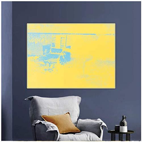 Shmjql Citon Andy Warhol, Silla eléctrica, Arte Pop, Lienzo, Pintura al óleo, póster artístico, impresión Decorativa, Imagen, decoración de la Pared, decoración del hogar-50x70cmx1 sin Marco