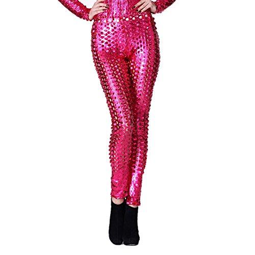 Rubberfashion Glanz Leggings, glänzende Leggin metallic mit Lochmuster bis zur Hüfte für Frauen und Mädchen Menge: 1 Stück pink S/M