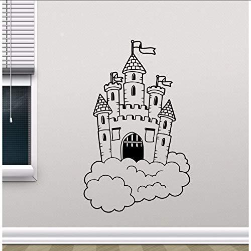 jukunlun Abnehmbare Burg In Wolken Wandtattoo Kinderzimmer Wandbild Kinder Schlafzimmer Dekor Magic Kingdom VinylKer Kinderzimmer Dekor 42X68 Cm