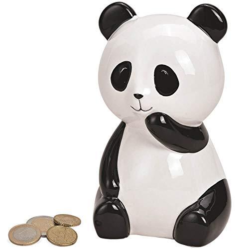 Matches21 - Hucha de cerámica, diseño de Oso Panda, Color Blanco y Negro 10 x 10 x 15 cm.