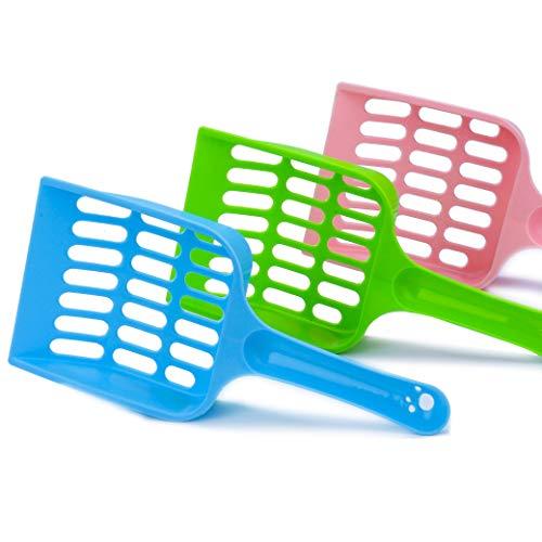 ISIYINER Katzenstreu Schaufel Haltbare Plastikstreuschaufel für Reinigung Katzenklo Katzen Hunde Pooper Scooper 3 Stück