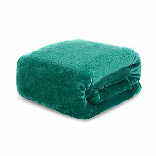 HYSEAS Flannel Fleece Throw Blanket Teal - Super Soft Plush Microfiber Solid Blanket for Couch, Bed, Chair, Sofa - Fuzzy Cozy Lightweight - 50x60 Inch