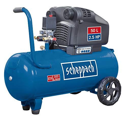 scheppach Druckluft-Kompressor HC54DC - 2,5 PS | 50 L Kessel | 1800 W | 10 bar | Ansaugleistung: 322 L/min | Ölfrei