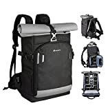 TARION Pro XP Camera Backpack Waterproof Camera Bag Hard Shell Roll Top Expandable Large Camera Backpack 19L | 15' Laptop Compartment Rain Cover Back Access Phtography Hiking Camera Backpack