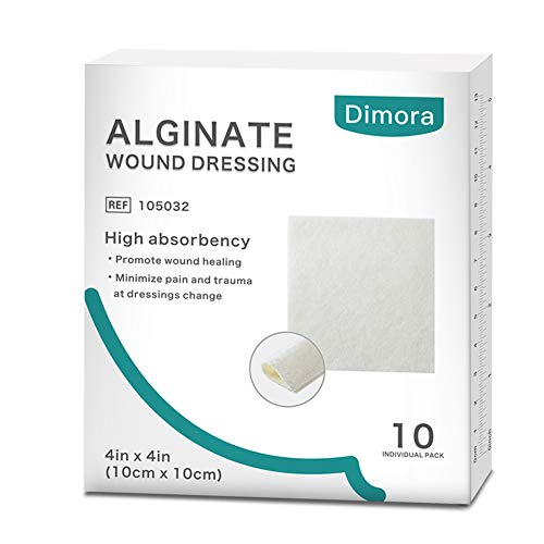 Alginate Wound Dressing by Dimora, Soft and Highly Absorbent Dressing, 10 Individual Sterile Pads, 4.25'' x 4.25''