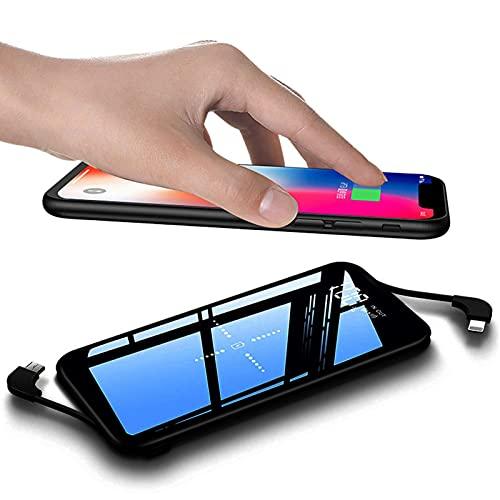 DNGDD Cargador portátil inalámbrico, 10000Mah Cargador inalámbrico Power Bank Paquete de baterías con Pantalla LED y Panel de Vidrio Completo Compatible con Dispositivo de Carga inalámbrico Qi y 3