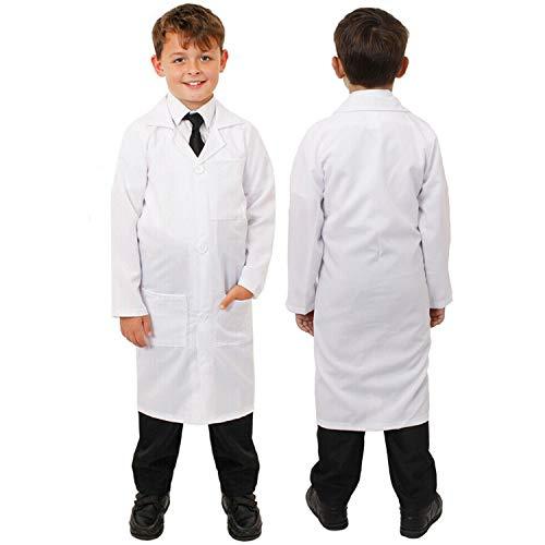 Disfraz de mdico de laboratorio para nios, con bolsillos en la cintura y en el pecho, color blanco, talla grande, edad de 10 a 12 aos