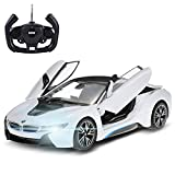 Officially Licensed BMW i8 Authentic w/Open Doors RC Vehicles Scale 1:14 by Rastar (White)