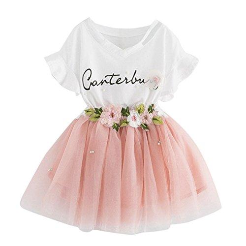 YUAN Baby Mädchen Kleidung Set 2 Stück Tops+ Rock Tütü Pettiskirt Geburtstag Geschenk Outfits Verkleidung (7 Jahre, Rosa)