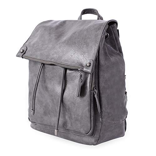 Women Backpack Purse Waterproof Anti-theft Lightweight PU Leather Nylon Shoulder Bag Travel Backpack Ladies (Bright Grey)